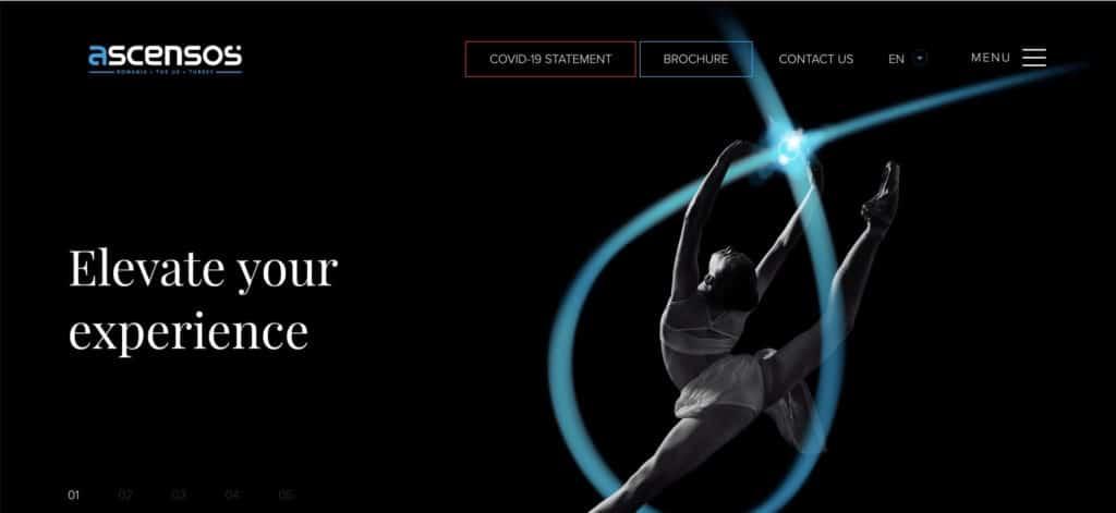 Screenshot of Ascensos website homepage