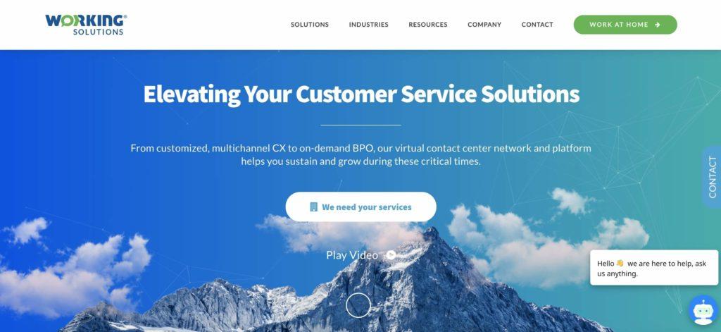 Screenshot of Working Solutions website homepage